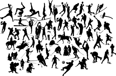 bowman: Collection of black and white sport silhouettes. Vector illustration Illustration