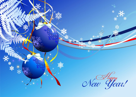 Christmas - New Year shine card with blue balls  Stock Vector - 6198388