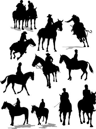 Siluetas de jinetes de caballo. Ilustración vectorial