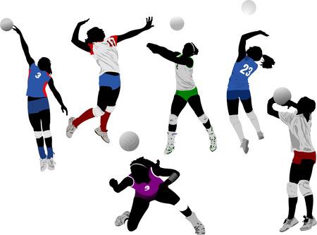 beach ball girl: Set of volleyball women silhouettes