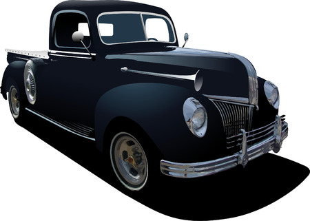 Black pickup truck with badges removed Vector