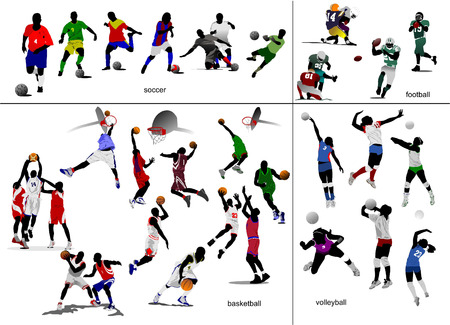 dribbling: Games with ball. Soccer, football, basketball, volleyball. Vector illustration
