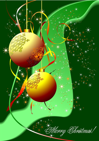 Christmas - New Year shine card with golden balls Stock Vector - 6533325