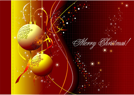 Christmas - New Year shine card with golden  balls  Stock Vector - 6533329