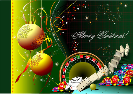 Christmas - New Year background with casino elements. Vector  Vector
