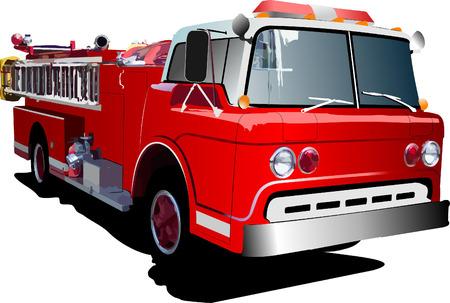 fire engine: Scaletta di incendio del motore isolato sullo sfondo. Illustrazione vettoriale