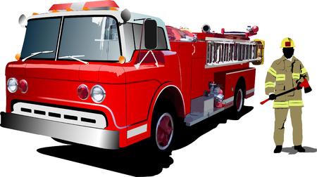 fire engine: Incendio del motore e vigile del fuoco isolato sullo sfondo. Illustrazione vettoriale Vettoriali