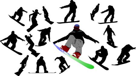 Snowboard man silhouettes. Vector illustration