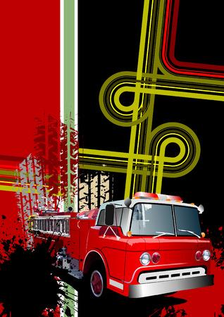 fire engine: Copertura per brochure con immagini urbane grunge e incendio del motore. Vettore