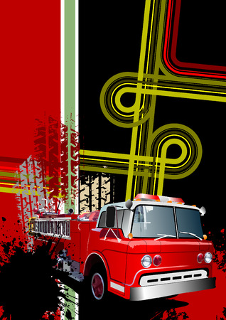 tire cover: Cover for brochure with grunge urban images and fire engine. Vector Illustration