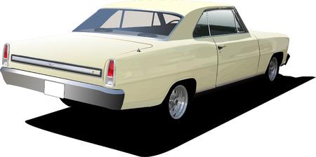 scheinwerfer: 70er Jahre mit Coupe auf isoliert Hintergrund. Vektor-illustration