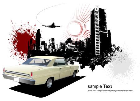 cushy: 1970s Luxury Coupe on grunge urban background. Vector illustration