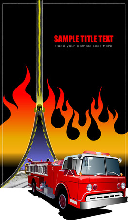 open flame: Cover for brochure with zipper fire image. Vector illustration Illustration