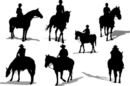 Siluetas de jinetes de caballo. Ilustración vectorial Ilustración de vector