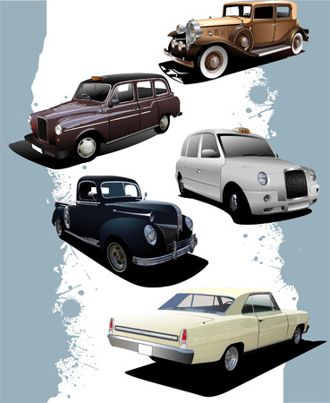 oude autos: Five old  cars. Retro. Vector illustration