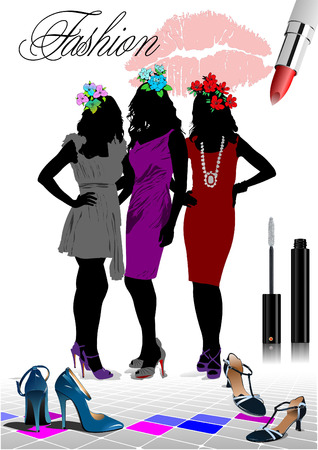 Floral women silhouette with fashion images. Vector illustration Vector
