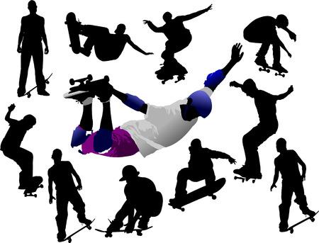 Jumping skateboarder silhouette  Stock Vector - 6533298