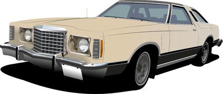 1960s light pink sedan on isolated background. Vector illustration Vector