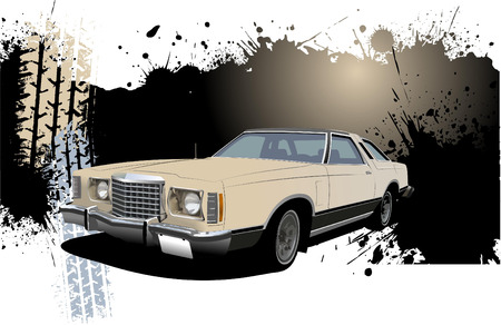 Grunge Banner with rarity car image. Vector illustration Stock Vector - 6533337