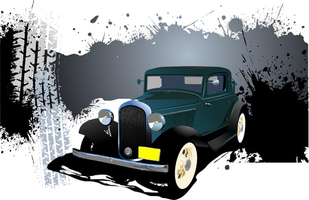 Grunge Banner with rarity car image. Vector illustration Vector