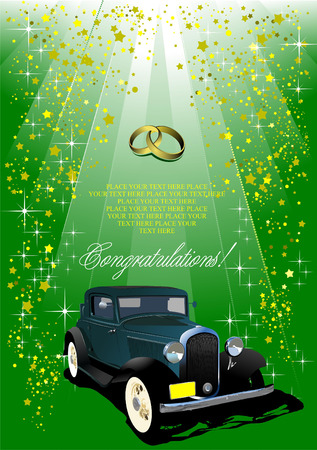 Wedding green background with rarity car image Vector