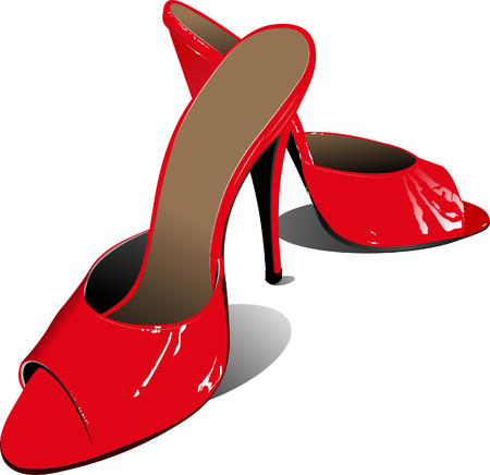 Fashion woman red shoes. Vector illustration Vector