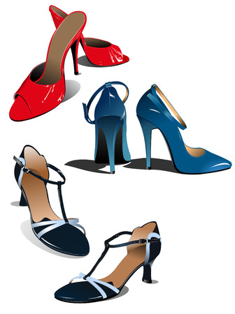 leather shoe: Three pairs of fashion woman shoes. Vector illustration Illustration