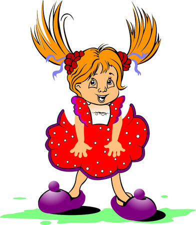 Red-haired funny little girl Stock Vector - 6533296