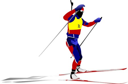 move gun: Biathlon runner colored silhouette