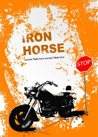 motorbike race: Orange gray background with motorcycle image