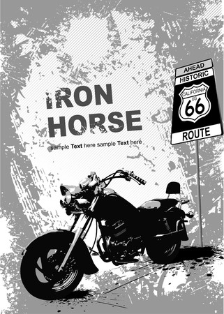 Grunge gray background with motorcycle image