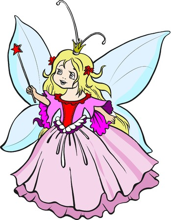Beautiful little princess with magic wand Vector