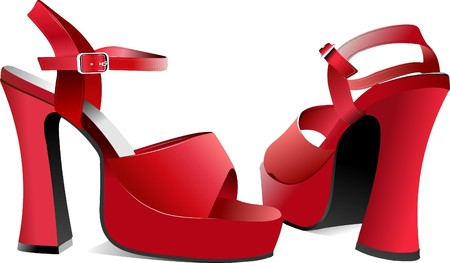 Fashion woman red shoes Stock Vector - 7217243