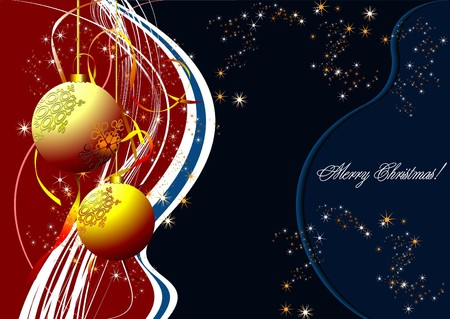 Christmas - New Year shine card with golden balls Stock Vector - 7217326