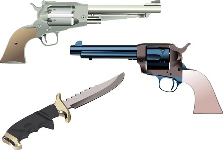 enemies: Revolvers and knife on isolated background