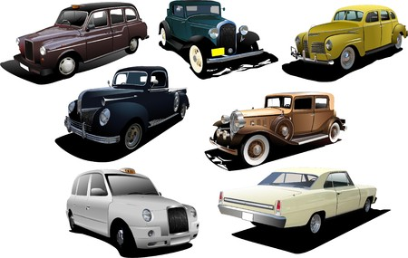 Seven old rarity cars Vector