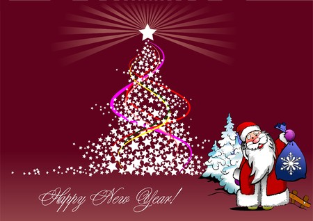 winter tree: Christmas - New Year tree with Santa image Illustration