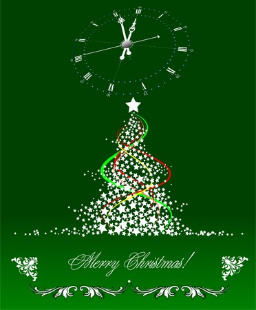 Christmas - New Year tree with clock image Vector