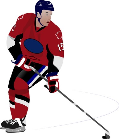 Ice hockey player. Colored  illustration for designers Stock Illustration - 7252800