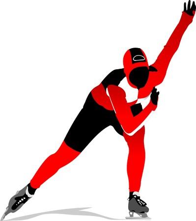 Speed skating.  illustration Stock Illustration - 7252794