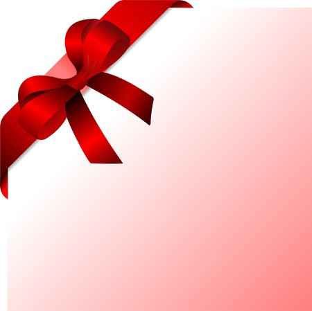 pasteboard: Page corner with red ribbon and bow with place for text.