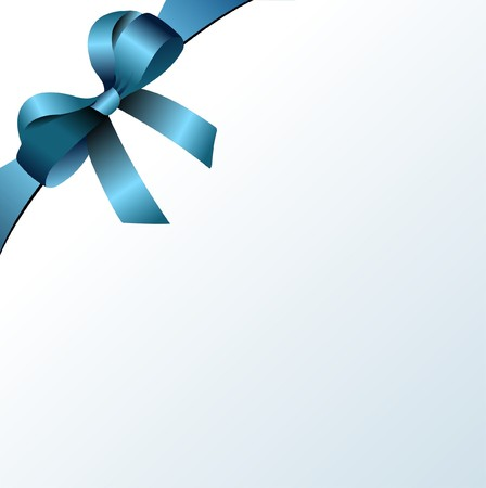 Page corner with blue  ribbon and bow with place for text. Vector.  photo