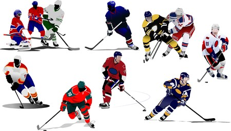 hockey player: Ice hockey players. Colored  illustration for designers