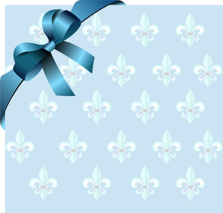 Page corner with blue  ribbon and bow on royal lily background.   photo