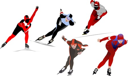 Five Speed skating. Vector illustration Stock Vector - 7267967