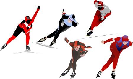 Five Speed skating. Vector illustration Stock Vector - 7267967