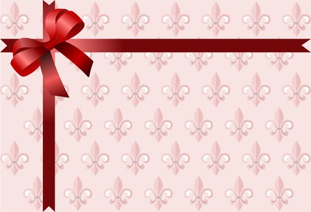 Page corner with red  ribbon and bow on royal lily pink background. Vector. Stock Vector - 7267966