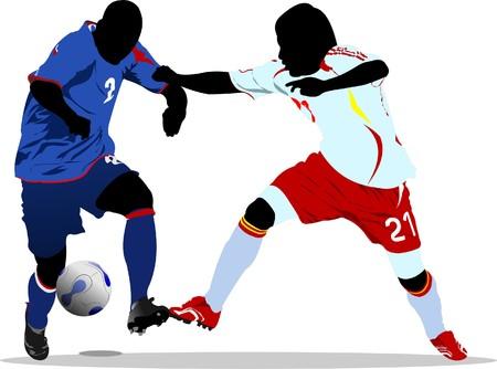 jugadores de soccer: Jugadores de f�tbol. Color de ilustraci�n de vector para dise�adores