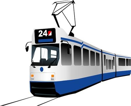 tramway: Trasporto urbano. Tram. Illustrazione vettoriale