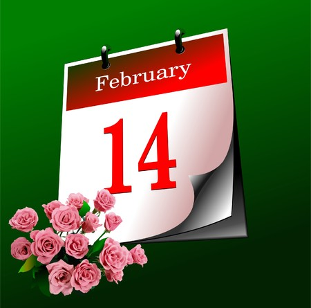 Valentine`s Day  calendar page. Vector illustration. Cover Vector